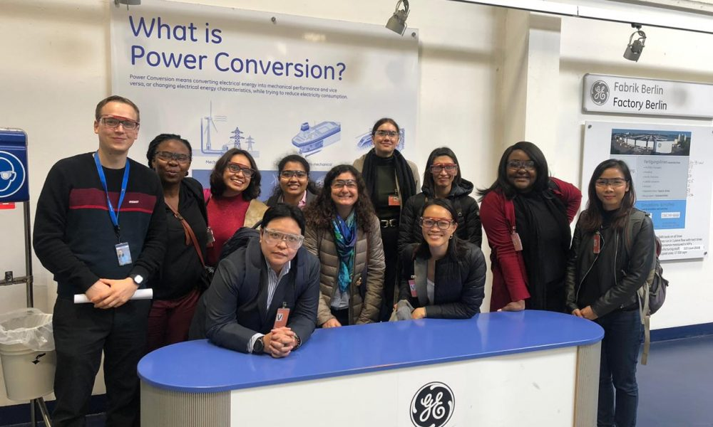 The group visits the GE Power Conversion facility in Berlin.